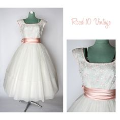 Vintage 1950s Emma Domb White and Pink Embroidered Dress Formal Prom Wedding. $295,00, via Etsy.