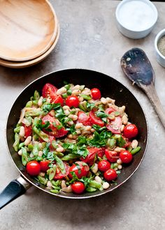 Tasty, Delicious, Warm Bean salad with tomatoes and vinaigrette