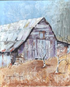 8x10 Rustic Barn Mixed Media Collage by Jacqueline Brown