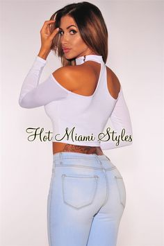 White Choker Strap Off Shoulder Crop Top Womens clothing clothes hot miami styles hotmiamistyles hotmiamistyles.com sexy club wear evening  clubwear cocktail party kim kardashian dresses
