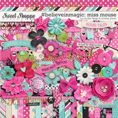 Minnie Mouse inspired, digital scrapbooking #believeinmagic: Miss Mouse by Amber Shaw & Studio Flergs