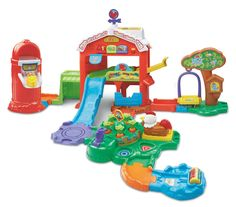 Electronic farm toy barn features buttons that introduce colors, numbers, and plants when pressed; infant toy requires 2 AA batteries (not included) SmartPoint rooster responds to 7 SmartPoint locatio