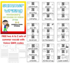 free-qr-voice-codes-vocabulary-printable and lined writing paper summer theme