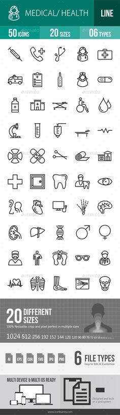 50 Medical Green & Black Line Icons