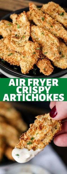 These Crispy Artichokes are so easy to make in the air fryer and incredibly delicious! These will be your new go-to appetizer! Low Carb Recipes, Snack Recipes, Healthy Recipes, Delicious Recipes, Healthy Food, Healthy Eating, Cooking Recipes, Air Fryer Dinner Recipes, Air Fryer Recipes