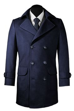 Blue double breasted Cashmere Coat http://www.tailor4less.com/en-us/men/coats/1977-blue-double-breasted-cashmere-coat