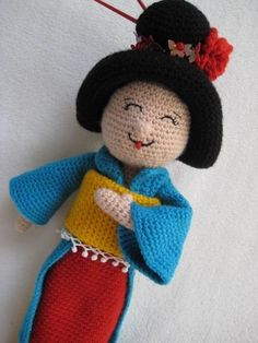 (4) Name: 'Crocheting : Geisha Amigurumi Doll Toy Maiko Kokeshi