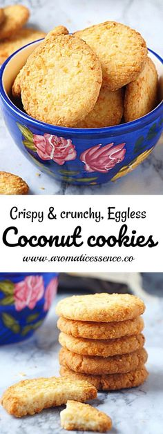 Step-by-step recipe with pictures to make eggless coconut cookies. How to make crispy and crunchy eggless coconut cookies. Eggless Desserts, Eggless Recipes, Eggless Baking, Baking Recipes, Dessert Recipes, Goan Recipes, Breakfast Recipes, Eggless Biscotti Recipe, Coconut Recipes Indian
