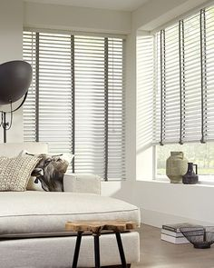 Intensions jaloezie Exclusive hout wit met donkergrijs uni 60 x Window Coverings, Stores, Luxury Homes, Blinds, Living Room Decor, New Homes, Curtains, House, Inspiration