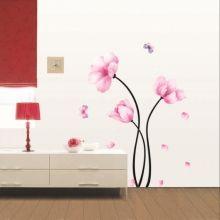 Pink flowers and butterflies sticker