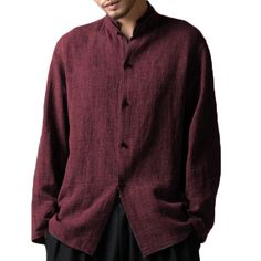 Mens Vintage Chinese Style Cotton Stand Collar Loose Shirts - Banggood Mobile