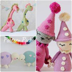 Crochet Amigurumi Toy PATTERN Pack Special Offer Dragon and dino, Pierrot clown and tortoise Toy Plush Animals by KornflakeStew on Etsy