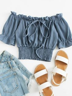 Shop Off Shoulder Ruffle Trim Tie Neck Top online. SheIn offers Off Shoulder Ruffle Trim Tie Neck Top & more to fit your fashionable needs. Girls Fashion Clothes, Teen Fashion Outfits, Look Fashion, Outfits For Teens, Cute Summer Outfits, Cute Casual Outfits, Pretty Outfits, Stylish Outfits, Mode Boho