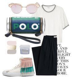 """#70 ""Polo"""" by mxreen ❤ liked on Polyvore featuring Folio, Monki, Davines, Anya Hindmarch, Canvas by Lands' End, BUSCEMI and Le Specs"