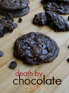 death by chocolate cookies -uses a cake mix and 3 kinds of chocolate chips!