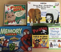 5 Early Education games,  Hands On Games Children's learning games, Math games, Reading Games, memory Games, Preschool Kindergarten games