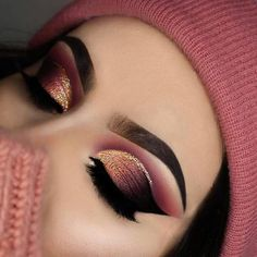 Burgundy and gold glitter eye makeup
