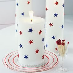 Fourth of July Red, White, and Blue Decorations - Patriotic Decorations I could make these at home with dollar store candles, star confetti & glue, or if i could find patriotic stickers it be even better. Fourth Of July Decor, 4th Of July Party, July 4th, Patriotic Crafts, July Crafts, Holiday Crafts, Patriotic Party, Holiday Meals, Holiday Fun