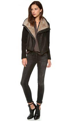 Vince Shearling Collar Moto Jacket