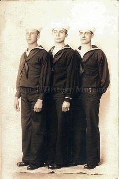 Photograph of Dave Clark, Floyd Lynn, and Joe Favini in Navy uniforms from WWI.  (Issaquah History Museum)