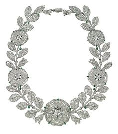 Jewels for Hope: The Collection of Mrs. Lily Safra  ~~ A Belle Epoque diamond & emerald 'Eglantine' necklace by Cartier, 1906, $600,000 -$800,000.