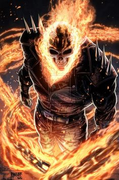 Ghost Rider by Ryan Pasibe, this is amazing! I love Ghost Rider! Comic Book Characters, Marvel Characters, Comic Character, Comic Books Art, Comic Art, Main Character, Marvel Comics Art, Marvel Heroes, Heroes Comic