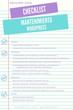 Checklist para el mantenimiento de un Blog en WordPress