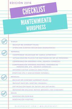 Checklist para el mantenimiento de un Blog en WordPress #infografia