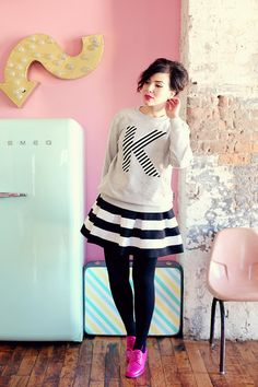 initial sweater + stripes