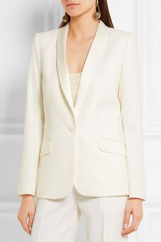 PALLAS Satin-trimmed wool-crepe blazer