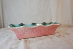 pink and turqouise rectangular dish candy mail cottage chic decor retro vintage kitchen planter by gleaned on Etsy https://www.etsy.com/listing/127920369/pink-and-turqouise-rectangular-dish