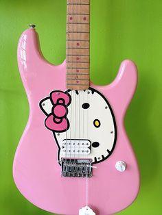 Fender Squire guitar Hello Kitty =^.^=