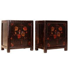 Pair of Floral Bedside Cabinets