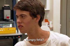 """John Luke after having his wisdom teeth taken out. """"Bumble bee tuna!"""""""