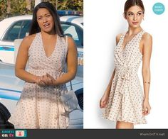 Jane's white floral wrap dress on Jane the Virgin.  Outfit Details: https://wornontv.net/60953/ #JanetheVirgin