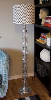 Floor lamp made from plastic bottles