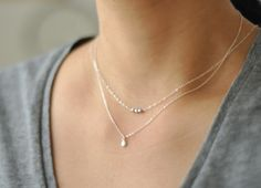Icing  tiny sterling silver beads necklace  dainty by edor on Etsy, $24.00