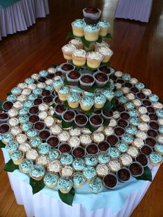 cupcake tree for a wedding...tiffany blue and chocolate