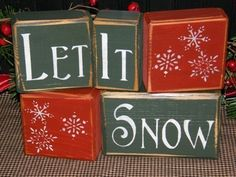 Perfect set for winter! These blocks are freestanding and would make a great accent piece to display on a shelf or mantle and can be arranged in a straight line, stacked, or however you choose! Also makes a GREAT GIFT!    Each block is painted, sanded, distressed and sealed to give it that primitive look. Colors are barn red, antique white and forest green. Blocks may also come with a knot or character in the wood, which just adds to its primitive appearance! Entire set measures approx. 9…