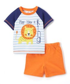 Love this Blue Stripe ' Like a King' Tee & Orange Shorts Set - Infant on #zulily! #zulilyfinds