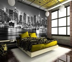 New York themed Home Decor Lovely New York City at Night Skyline View Black & White Wallpaper Mural Photo Giant Wall Poster Decor Bedroom Wallpaper City, City Bedroom, Wall Murals Bedroom, Feature Wall Bedroom, Bedroom Themes, Bedroom Styles, Wall Wallpaper, Bedroom Decor, Mural Wall