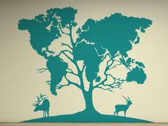 Large Tree World Map Decal for Home, Dorm, Office, Living Room or Bedroom. $92.00, via Etsy.