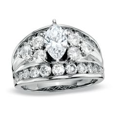 3 CT. T.W. Marquise Diamond Cluster Engagement Ring in 14K White Gold - Zales