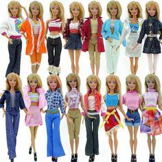 Chọn ngẫu nhiên 10 cái/lốc búp bê bộ quần áo quần áo thời trang ăn mặc giản dị áo cho barbie búp bê ăn món quà tốt nhất bé toys