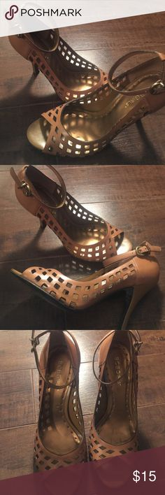 Leather Perforated Peep Toe Heels Tan leather peep toe heels with a strap BCBGirls Shoes Heels