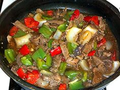 Mom's Pepper Steak! Made this 11/4/2013.  Did not use soy sauce due to allergy.  Used soy-free Worcestershire sauce instead and it tastes like my mom used to make.  Also did not add the tomatoes.