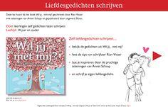 Zelfliefdesgedichten schrijven, bijvoorbeeld voor Valentijn. Met leuke voorbeelden uit de gedichtenbundel Wil jij... met mij? met tekeningen van Annet Schaap.  Leeftijd: 12 tot 90 jaar