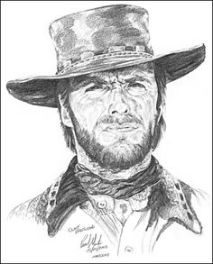 Clint Eastwood from the Good, Bad and the Ugly movie Clint Eastwood Cartoon Drawings, Cowboy Art, Sketches, Art Drawings, Caricature, Celebrity Drawings, Illustration Art, Art, Portrait Art