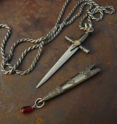 Jewerly Necklace, Medieval SWORD And SCABBARD, Wonderful Detailing, Blood Droplet Dangle,  Hidden Blade, USA Shipping, Not a Toy, Sharp on Etsy, $36.00