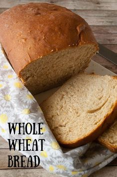 Want to make whole wheat bread yourself Just my step by step instructions to get a fresh loaf of homemade whole wheat bread from your own oven! Honey Wheat Bread, White Whole Wheat Bread Recipe, White Wheat Bread, Bread Recipes, Snack Recipes, Diet Recipes, Breakfast Recipes, Vegetarian Recipes, Recipies